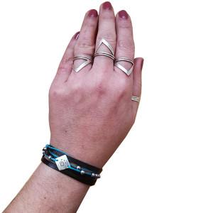 Blue aegean- black bracelet|Unisex bracelet|Wrap bracelet