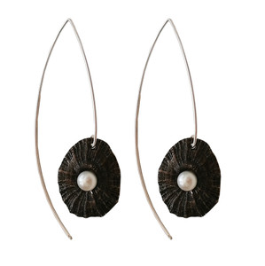 Silver Sea shell Earrings with pearls|Greek Designers
