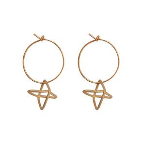 Silver hoop earrings with geometric charm with movement|Dangle earrings|Designer earrings