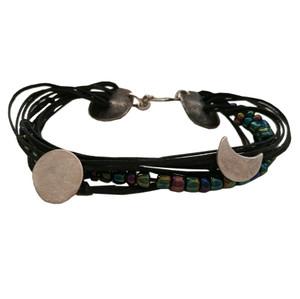 Sunmoon Bracelet with cords|Unusual statement bracelet|Oxidized bracelet