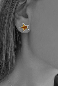 Silver star stud earrings, partly gold plated|Αστέρια σκουλαρίκια|Designer earrings