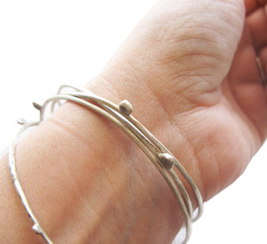 Minimalist silver Bangles|Contemporary bracelets|Designer Bangle bracelet