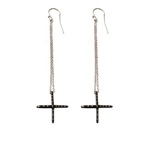 Long Cross earrings wth chains|Contemporary Earrings|Rock style jewelry