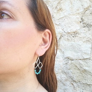 Turquoise earrings|Greek Design awith a boho touch|Elegant earrings