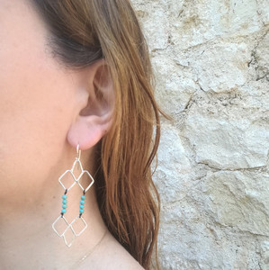 Long Aphrodite Earrings|Turquoise Earrings|Long Earrings|Greek earrings with a boho touch