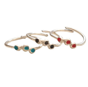 Stacking Thea Rings, dot rings with enamel