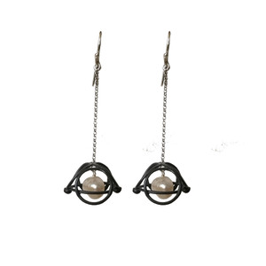 Oxidized long earrings with pearls|Contemp[orary earrings|Greek  Designer