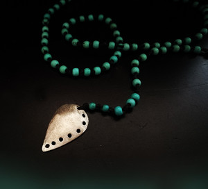 Rosary Necklace with silver charm and Turquoise Howlite