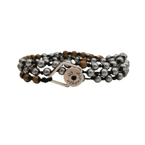 Beaded Bracelet with Hematites in silver and matt Gold & Silver elements| Convertible Jewelry