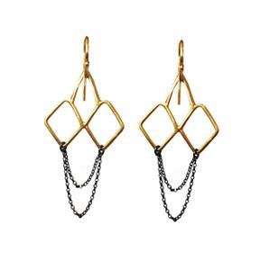 Minimal dangle earrings with Chains|Designer Earrings|Geometric