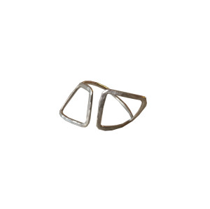 Silver geometric wire ring,greek design