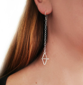 Long Rhombi Earrings|Minimal Earrings|Handmade 3d Rhombi design