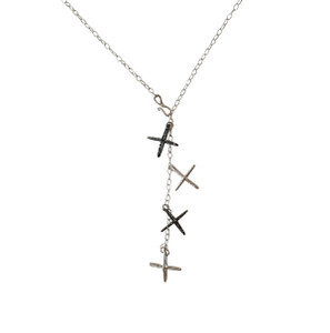 Modern necklace with handmade Crosses black and silver  that can be worn in 2 ways see photos