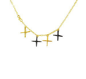 Cross Necklace in silver and black or gold and black,  modern cross necklace
