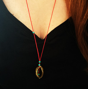 "Contemporary ""Kelifos Pendant"" made of silver with red or black cord-Black or Turquoise stones"