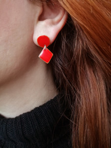 Red Earrings with geometric shape|Designer earrings