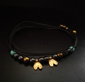 Stylish bracelet-Necklace with small tiny heart charms,hematites and Turquoise