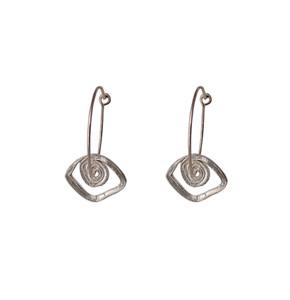 Silver evil eye hoop earrings