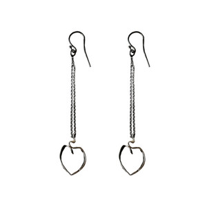Ribbon Heart Earrings|Long Heart Earrings|Contemporary Heart