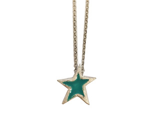 Silver Star Charm Necklace with enamel in various colors,red,turquoise,green,white