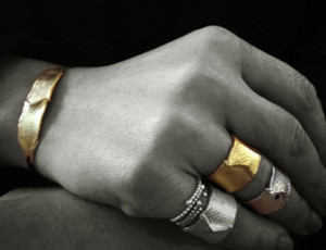 "Modern Gold Wide band Ring ""The wave"" available in White or Yellow gold 9k, 14k 