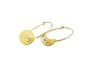 SunMoon Hoop Earrings with Pearls in gold or silver Finish