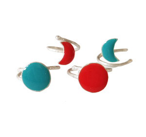 Sun and Moon Rings with Enamel|Color rings|