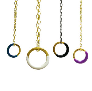 """Silver  """"Zoe"""" Circle  Necklace in many colors, Choose yours"""