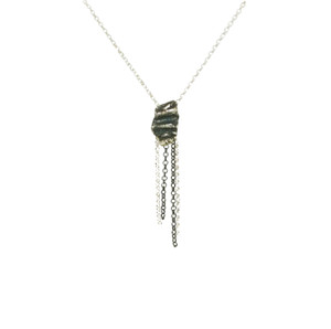 Mini Nugger Necklace with chains, rock style necklace with organic form