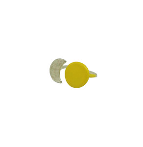 Silver SunMoon Ring with yellow enamel on the sun, beautiful everyday ring