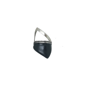 Big Triangle ring Black and silver or Black and Gold-Rocker Style ring