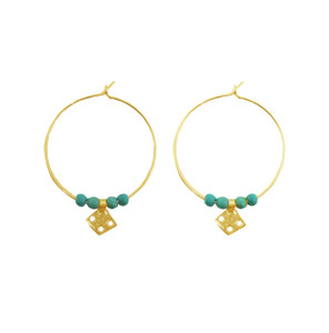 Silver Hoop earrings with turquoise and silver charms