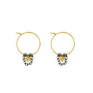 Elegant small hoop earrings with charms and hanging chains