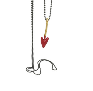 Arrowhead  heart shaped pendant in many colors, made of Brass with Brass chain, this arrow is inspired by an ancient heart shaped aroow head fownd in Crete