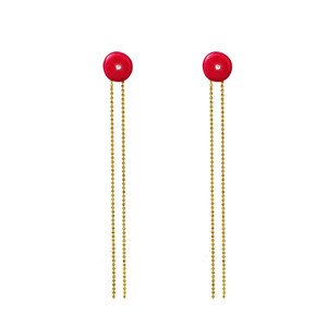 Sonia Earrings with hanging chains, enamel and Swarofski