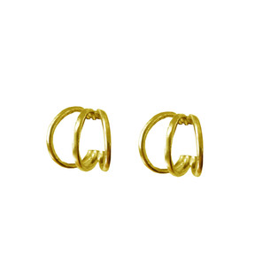 "Gold hoop earrings ""Tria"" luxury minimal fine jewelry"