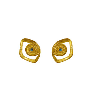 Evil eye stud earrings with zircons and spiral shape