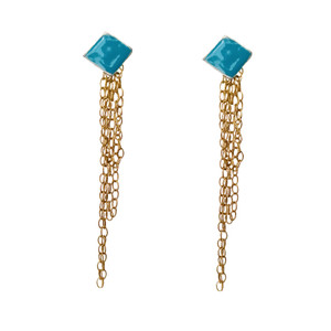 "Enamel Stud earrings ""Roi"" with long chains ,available in many colors"
