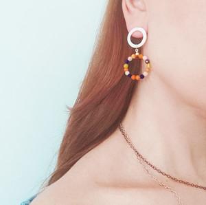 athena papa, hoop earrings with jade stones and enamel, elegant earrings, bridal earrings , summer earrings , boho