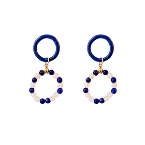 Alena, double hoop earrings with blue enamel and jade stones in white and blue