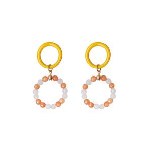 Alena, yellow enamel hoop earrings with jade stones