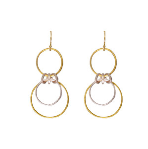 Lena two tone Hoop Earrings, a minimal design for everyday