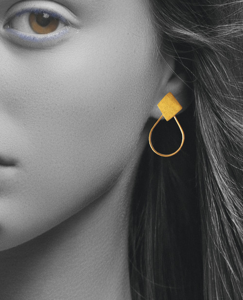 Minimal Geometric Drop Earrings that can be worn in many ways