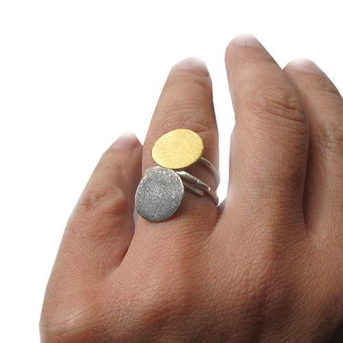 Silver Disc Ring | Gold Circle Ring | Geometric Ring | Oxidized Sun Ring