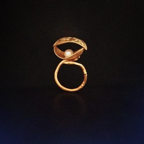 """Contemporary """"Kelifos"""" designer ring with pearl inside Unique designer ring"""