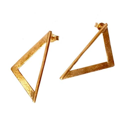 Triangle silver earrings|Designer earrings|Geometric earrings|Gee