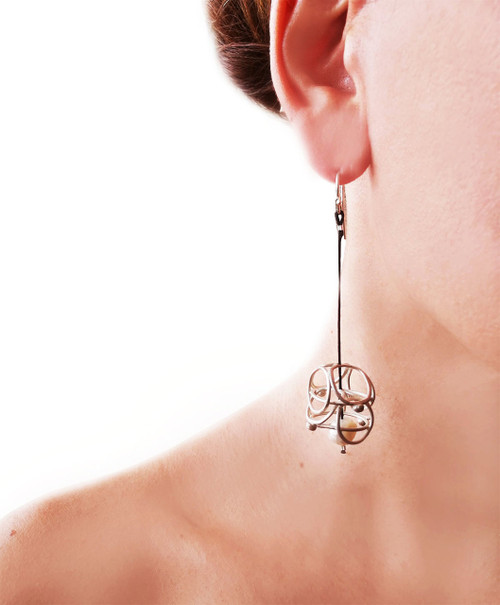 Long Earrings with cord|Modern silver earrings|Pearl earrings