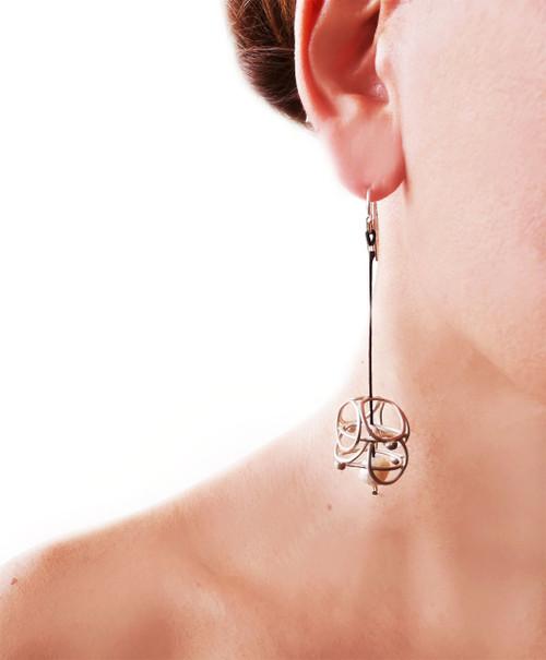 Long Earrings with cord|Modern silver earrings|Pearl earrings