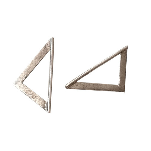 Triangle silver earrings|Designer earrings|Geometric earrings|Gee