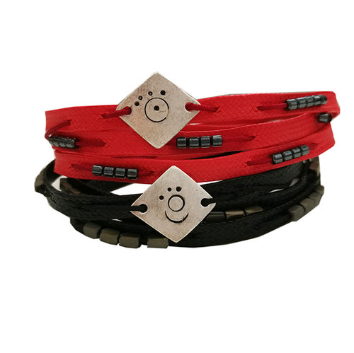 Wrap Red and black silver bracelets with cords|Beaded|DEsigner bracelets